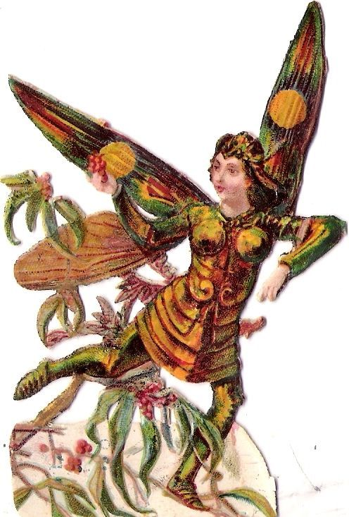 Oblaten Glanzbild scrap die cut chromo lady insect Käfer humanizes beetle: