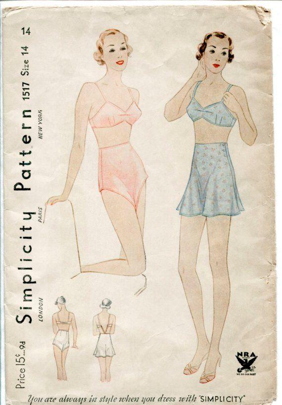 1930s 1940s lingerie pattern vintage bra bralette   tap shorts bust 32 b32  repro reproduction 4e82627af