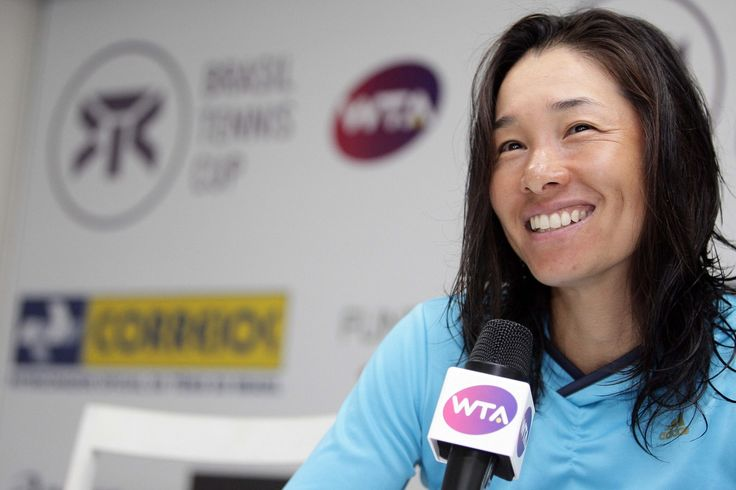 Kimiko Date-Krumm of Japan at a press conference in 2013. After retiring from the Women's Tennis tour in 1996, Kimiko returned to singles competition in 2008, and in 2009 she bacame the second oldest player on the wta tour to win a singles title.