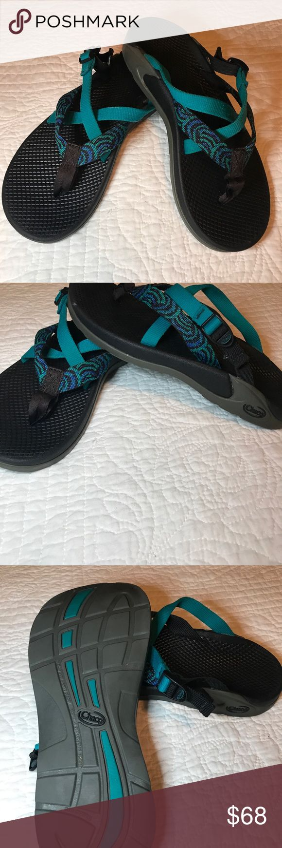 Black and teal Chaco flip flop Black and teal double strap women's Chaco flip flop. Size 9. Chaco Shoes Sandals