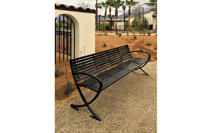 Perenne Collection Lily bench with curved arms. Griffin Ranch, La Quinta, California, USA.