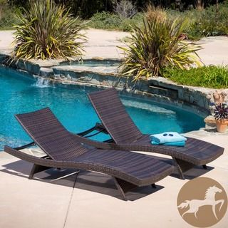 Christopher Knight Home Toscana Outdoor Brown Wicker Lounge (Set of 2) | Overstock.com Shopping - Great Deals on Christopher Knight Home Chaise Lounges