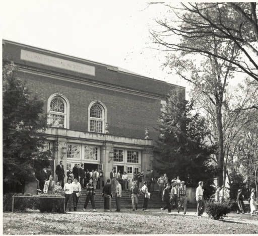 People leaving Templeton-Blackburn Alumni Memorial Auditorium, 1940s. :: Ohio University Archives