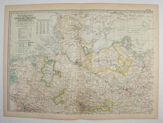 1901 Northern Germany Vintage Map, German Empire, Hamburg Berlin Germany, Prussia, Germany Art Gift for New Home, Gift for Couple available from  OldMapsandPrints on Etsy