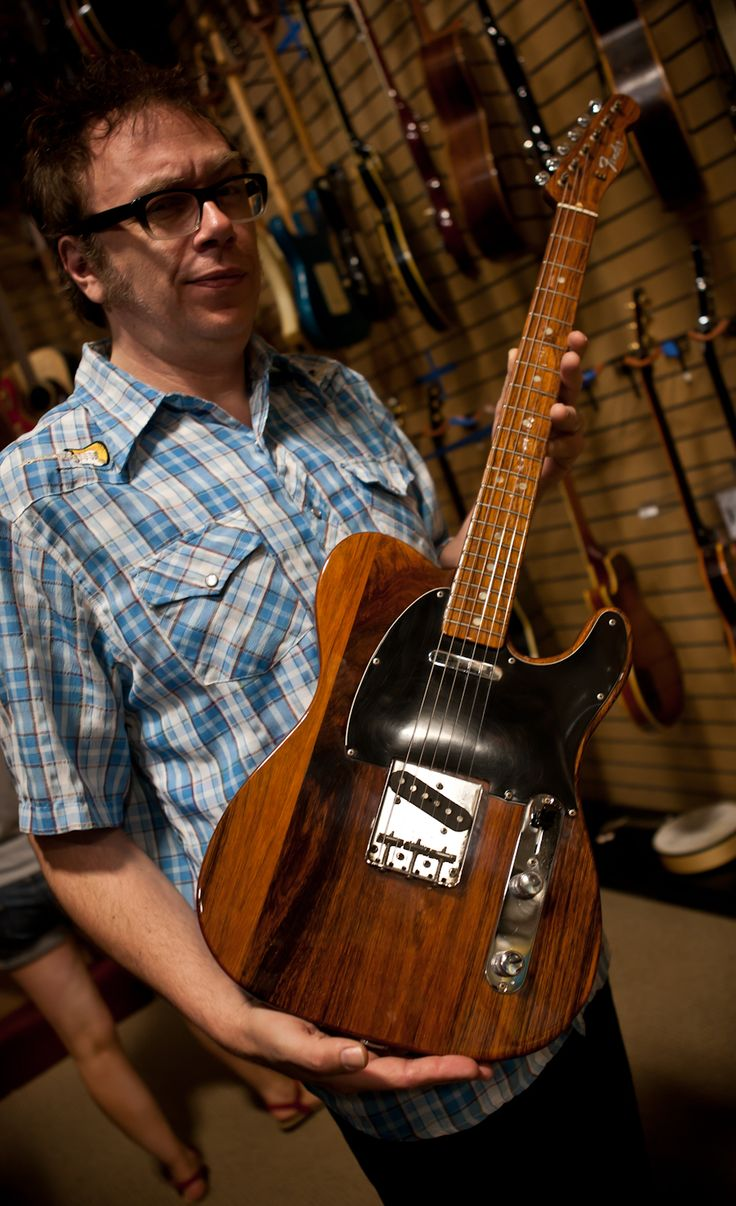 RARE GUITAR ALERT!!! Here's Steve Cropper's 1969 Rosewood Fender Telecaster. Fender only made these for a couple years and they're rare as hen's teeth. The all-rosewood construction results in a guitar that weighs a TON - probably close to 15 pounds. George Harrison very famously played one during the Beatles' Apple rooftop concert.
