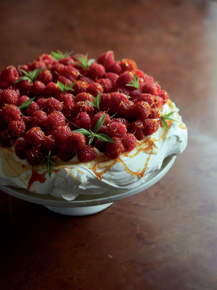 Raspberry, white chocolate and caramel pavlova recipe from Home Comforts by James Martin | Cooked