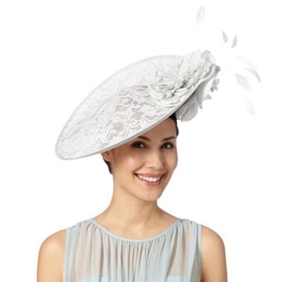 Debut Pale grey lace satin peony hat fascinator- at Debenhams.ie