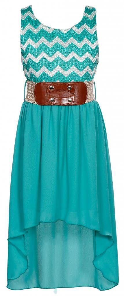 Amazon.com: Wonder Girl Big Girls' Lace & Lurex Hi-Low Dress V-Belt 6 Jade: Clothing