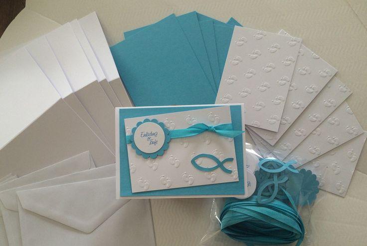 Einladungskarten - Bastelset - Einladungen Taufe -DIY - - ein Designerstück von Sandelinchen bei DaWanda