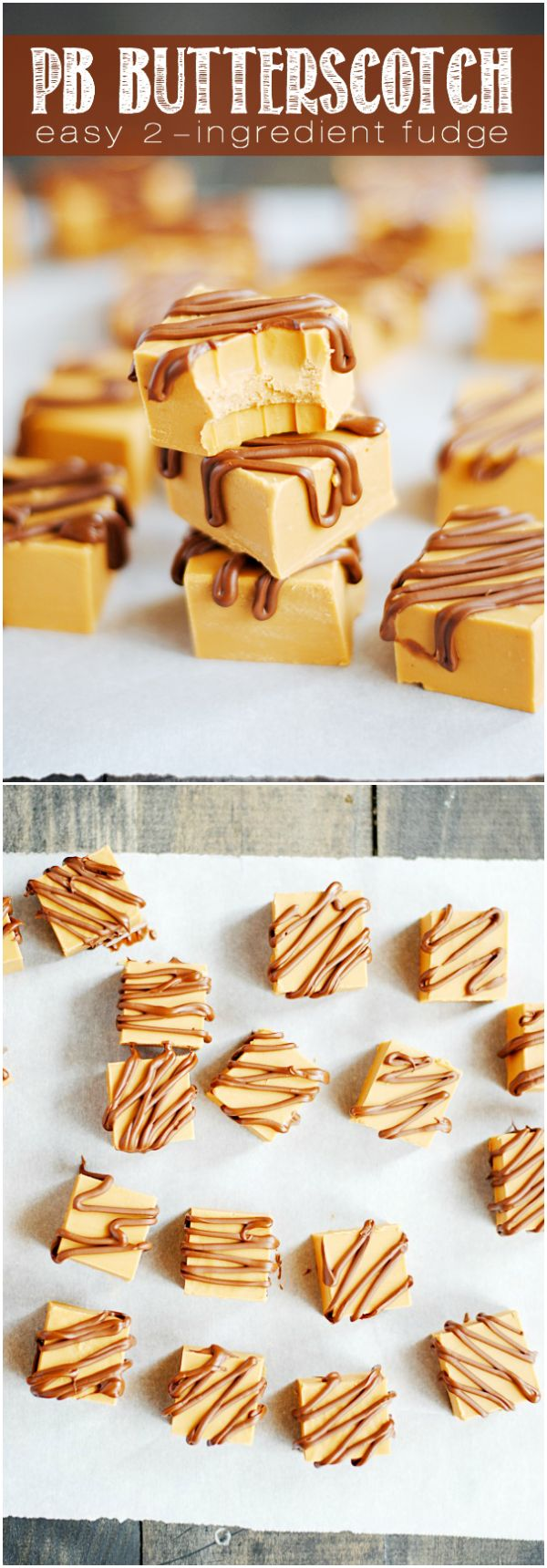 Easy 2-Ingredient Peanut Butter Butterscotch Fudge is simply incredible and SO EASY to make!