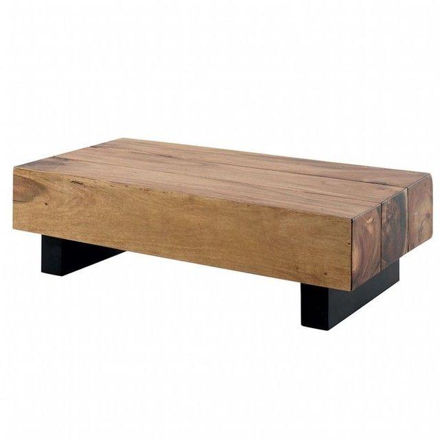 Table Basse Inspiration Exotique En Bois Du Suar Et 4 Pieds Noirs 130x65 5x38cm Canada Bois Naturel Pie Table Basse Bois Table Basse Table Basse Rectangulaire