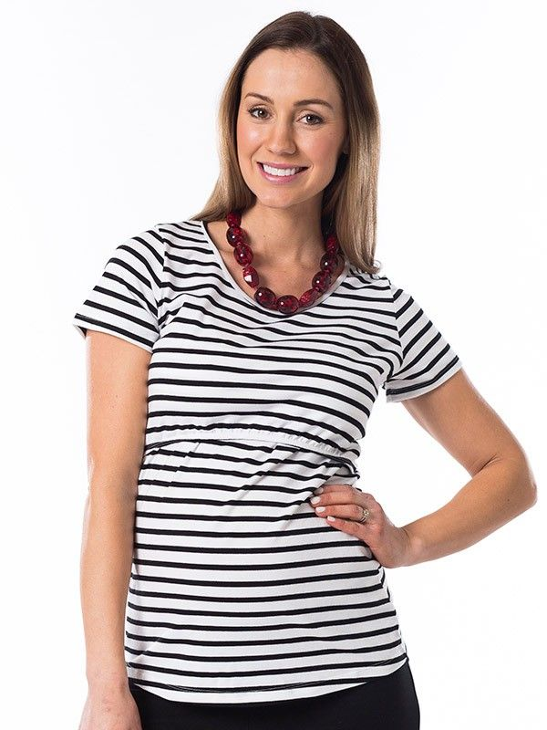 Stripesational Breastfeeding Top from breastmates.co.nz --Super-soft, stretchy, fitted nursing T-short is fitted during pregnancy but relaxed for post-baby comfort. Concealed breastfeeding openings along the empire line.