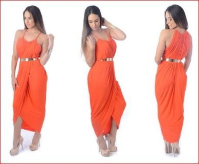 ++One+only++White+closet+size+10+Orange+draped+dress+with+perfect+stretch+fabric+just+moulds+with+your+body.+Does+not+include+belt+