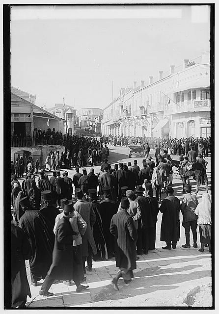 The surrender of Jerusalem by the Ottoman Empire to the British, December 9, 1917. British general arriving at Jaffa Gate.