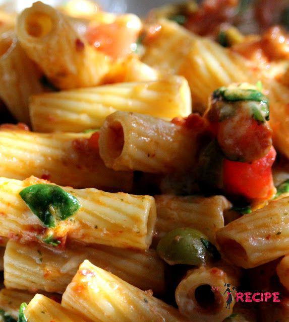 Rigatoni au pesto de tomates séchées | Sun dried tomato pesto rigatoni - Miss-Recipe.com