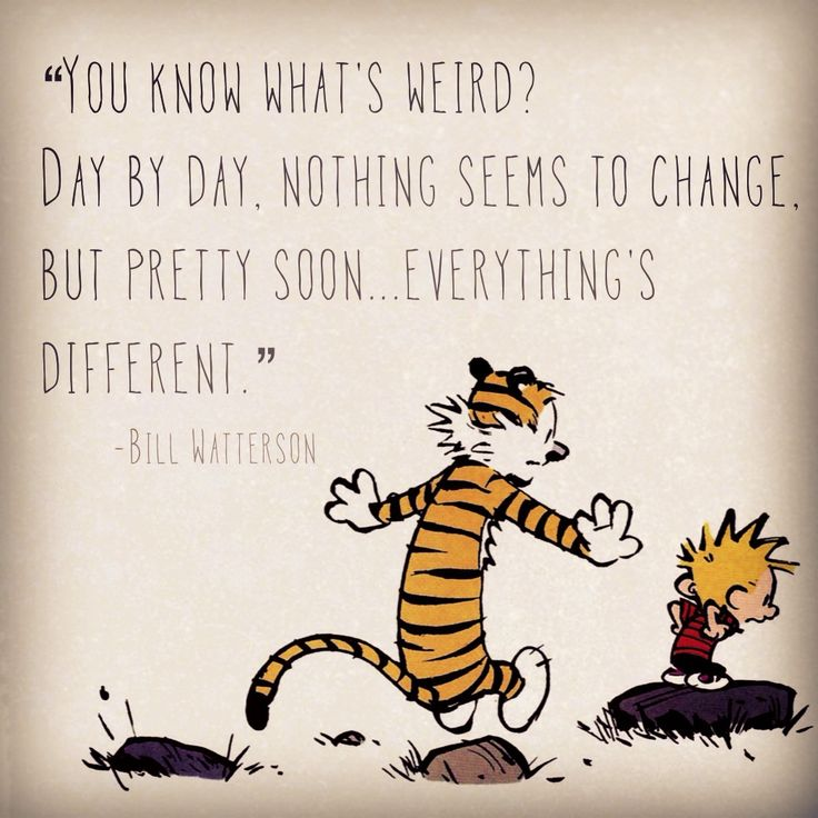 "Calvin and Hobbes QUOTE OF THE DAY (DA):  ""You know what's weird? Day by day, nothing seems to change. But pretty soon... everything's different.""  -- Bill Watterson  [check out this C&H board!]"