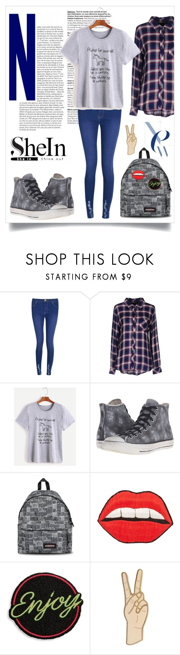 """""""Grey Unicorn T-Shirt"""" by stella-kar ❤ liked on Polyvore featuring Boohoo, Rails, Converse, Eastpak, Happy Embellishments, Marc Jacobs and Lucky Brand"""