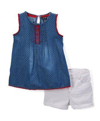 Navy & Red Polka Dot Tank & White Denim Shorts - Girls