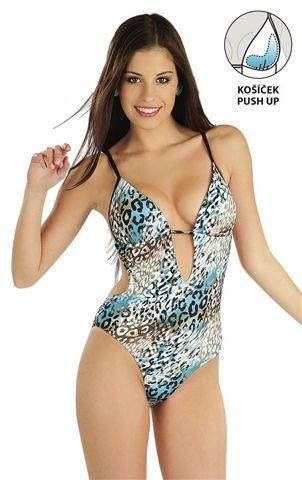 Dámské plavky monokiny s košíčky push-up. Větší push-up ve spodní i boční části košíčku.