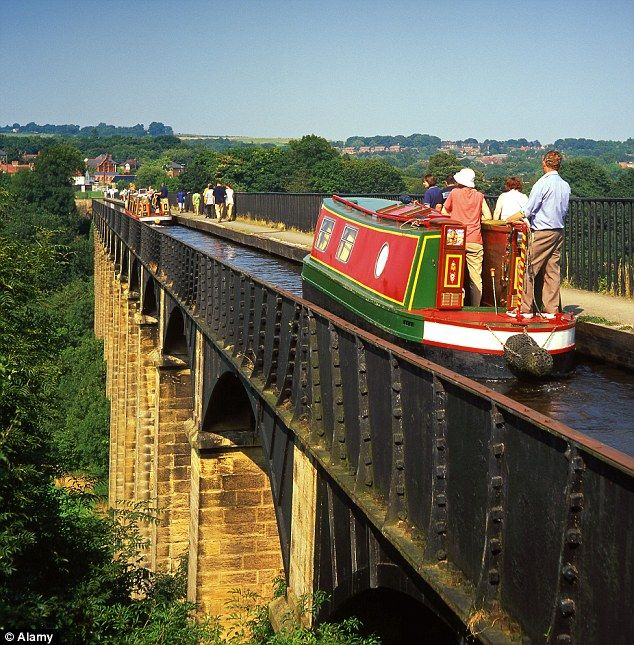 Narrowboat along the Llangollen Canal in Wales
