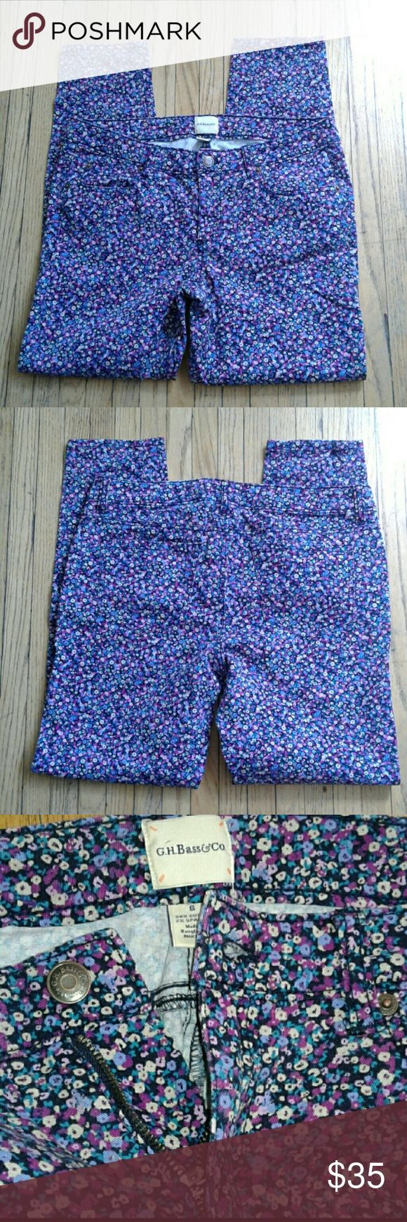 G. H. Bass dainty floral skinny pants Skinny pants. Back and front pockets. Button and zip closure. Dainty floral pattern. Purple, pink, blue, black, teal and cream. Perfect for spring!! Nwot! g. h. bass Pants Skinny