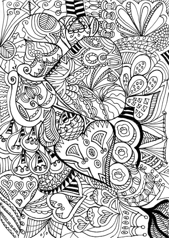 heart zentangle coloring pages - photo#37