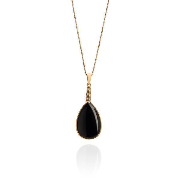 Black Tear Drop Pendant | Sienna Bella | Wolf & Badger