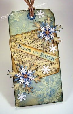 Vintage Figments: Tag with snowflakes and sheet music