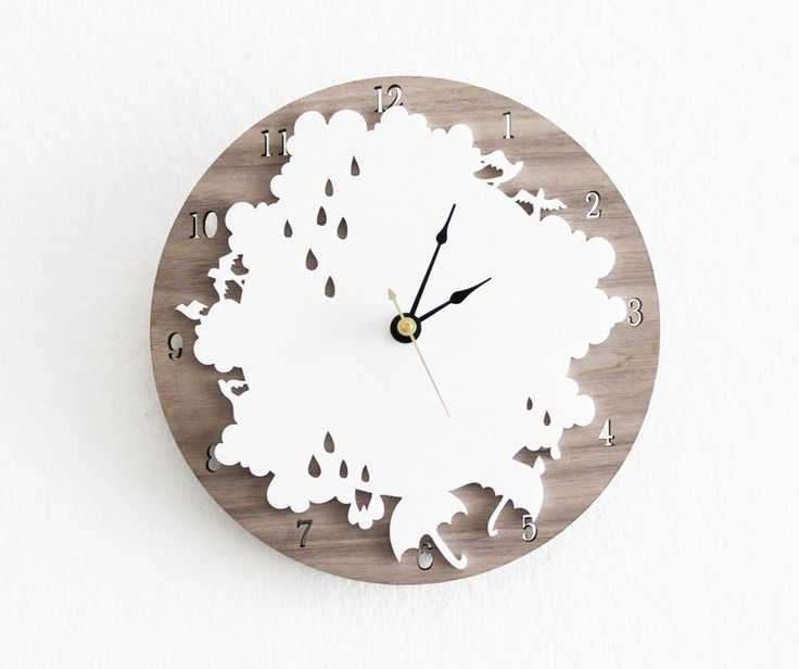 Rain Drop Clock Rainy Day Wall Clock with Cloud Rain drop by iluxo