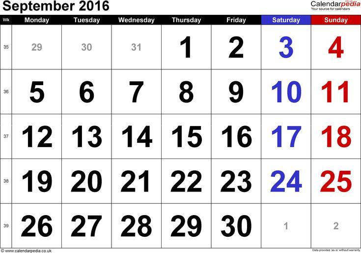 September 2016 Calendar Printable Pdf
