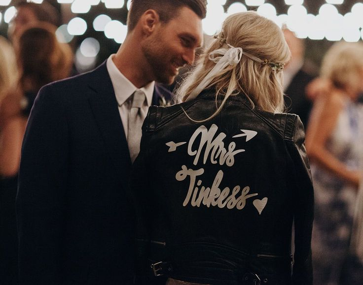 Napa Farm Chic Wedding // customized leather jacket with mrs. last name