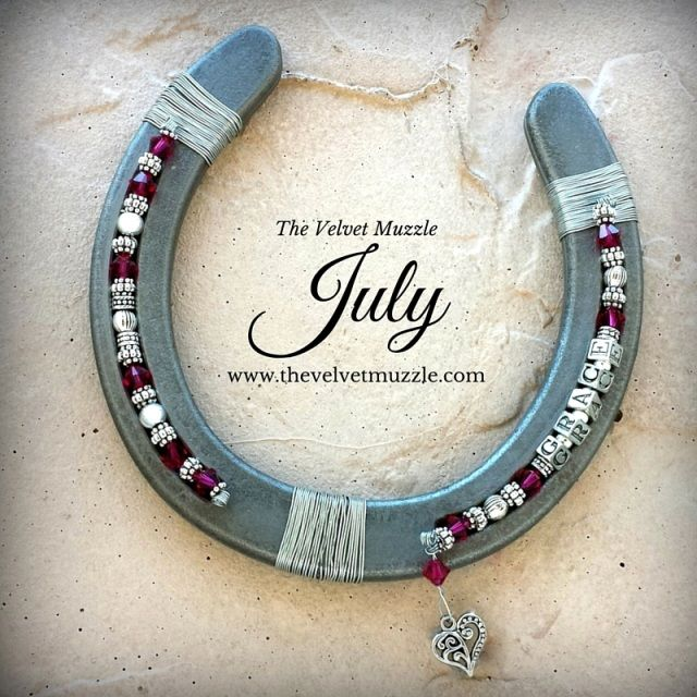Personalized Birthstone Horseshoes embellished with a combination of sterling, Bali, Thai, Tibetan and plated silver, rhodium pewter and genuine Swarovski birthstone crystals!