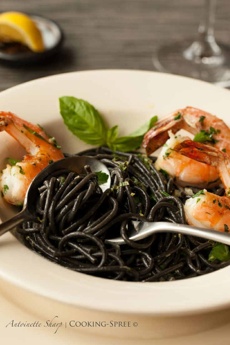 Garlicky Shrimp & Squid-Ink Pasta with Lemon & Basil