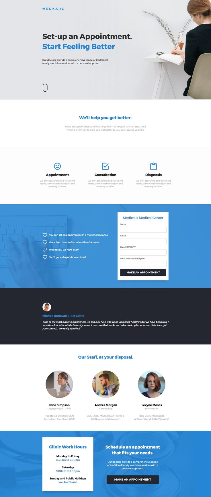 Schedule a visit with the Medkare template. Let the sick know your clinic hours, the staff at their disposal, and the services you provide. They'll be better in no time!  #landingpages #advertising #templates #landingpagetemplates