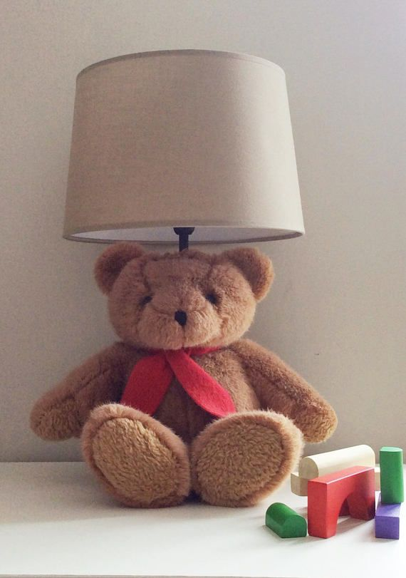 Childrens Lamp Nursery Lamp Bedside Lamp Teddy by Nesthandpainted
