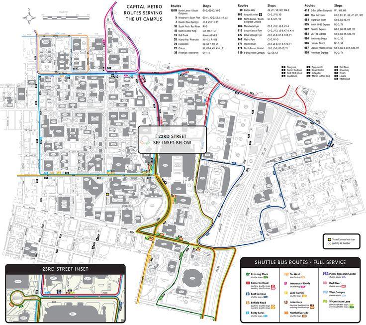 University of Texas-Austin Shuttle Campus Map - Austin Texas USA • mappery