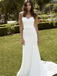 Ibarra- full length mesh chiffon and corded lace sheath gown includes a unique sweetheart neckline.