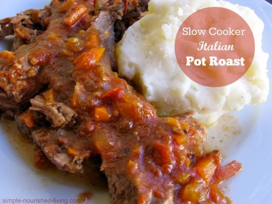 Slow cooker pot roast Italian style is an easy, healthy, delicious, family favorite dinner, 260 calories, 6 Weight Watchers Points Plus, Simply Filling