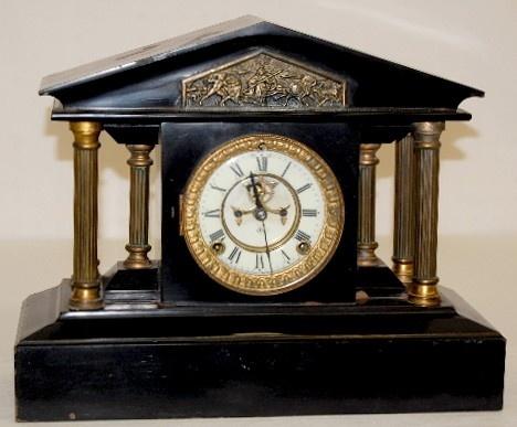 Antique Black Mantle Clock--- Ansonia
