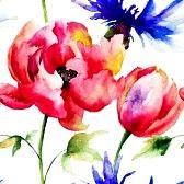 Naadloze patroon met voorjaarsbloemen, aquarel schilderen photo