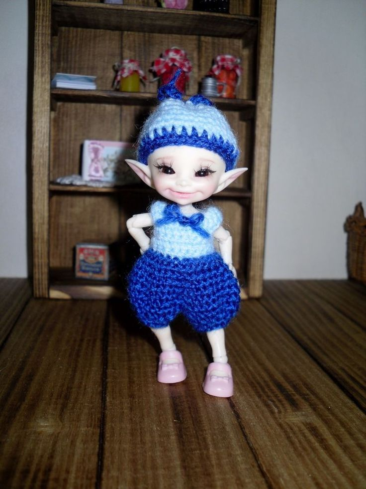 Crochet romper and hat for Realpuki doll BJD