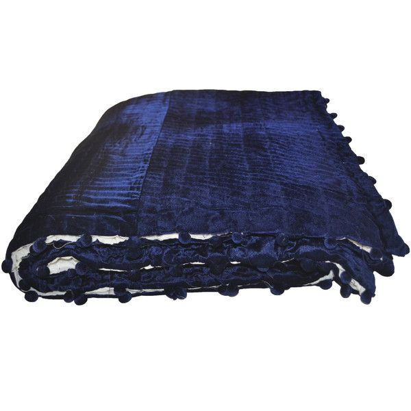 Soft Velvet And Cotton Quilt -Navy Ivory Blanket Pick Stitch -Queen... (14,620 INR) via Polyvore featuring home, bed & bath, bedding, quilts, queen bed linens, navy blue bedding, queen bedding, cotton bedding and cream bedding
