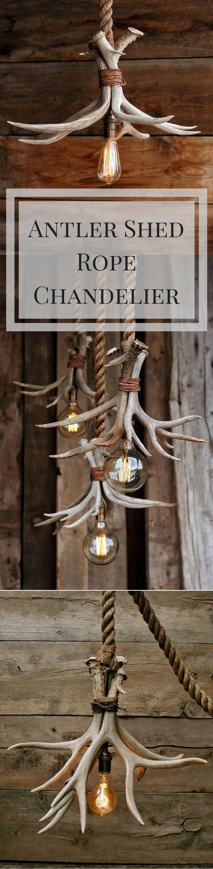 Etsy.com - The Cabin Lit Chandelier - Antler Shed Pendant Rope Light - Hanging ceiling Accent lighting - Rustic industrial Deer fixture #rustic #affiliate