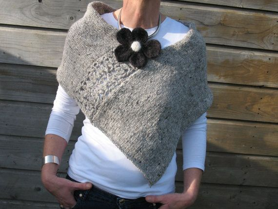Pure Wool Poncho Wrap In Light Grey With Felted by TissaGibbons, €45.00