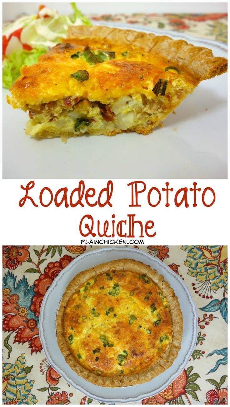 Loaded Potato Quiche - pie crust filled with diced potatoes, bacon ...