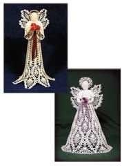 """Technique - Crochet    Two heavenly crocheted angels to grace your Christmas tree or mantel! The Royal Pineapple Seraphim and the Pineapple Cascade Angel are both made using size 10 thread. Pineapple wings and skirts make up these beautiful angels. Each measures 11"""" tall.     Skill Level: Intermediate"""