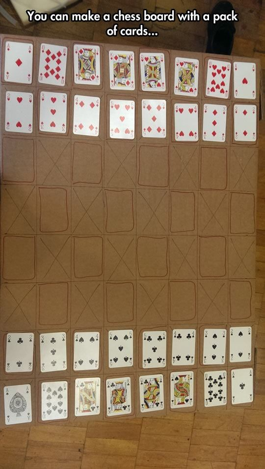 Make a chess board with a pack of cards.
