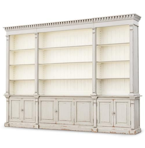 Laundress French Country Distressed Grey Large Display Bookcase