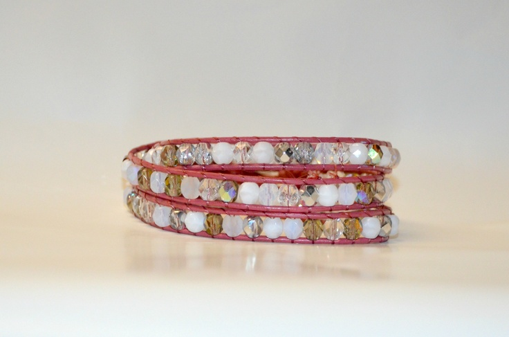Clear and white multi-wrap bracelet