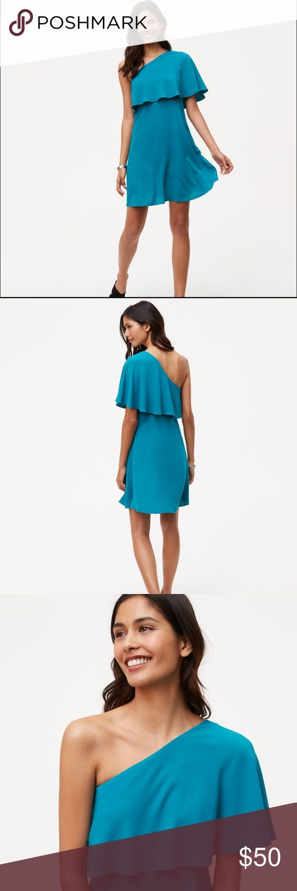 """Ann Taylor One Shoulder Flounce Dress Perfect for a summer wedding! Very lightweight and comfortable. I bought a 6 and an 8 but ended up wearing the 6 (pictured here). I am 5'6"""". Ann Taylor Dresses One Shoulder"""
